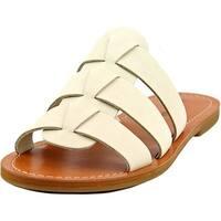 Lucky Brand Aisha Women  Open Toe Leather White Slides Sandal