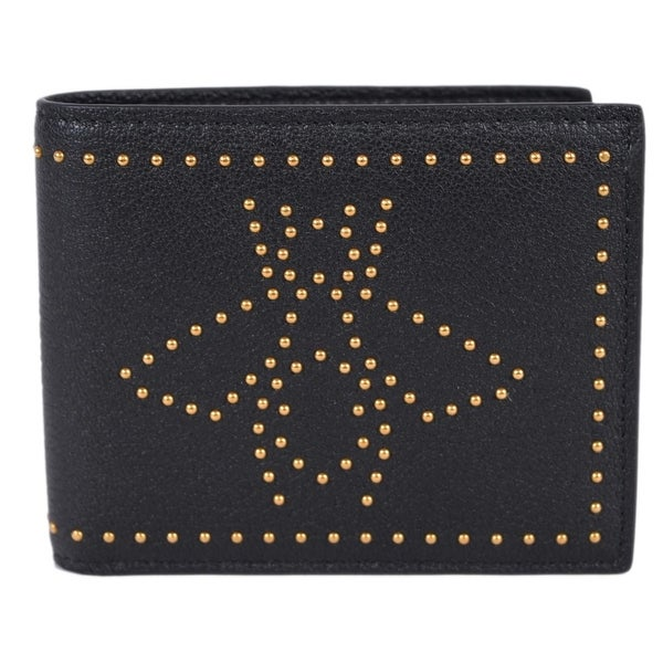 87e04099e69 Gucci Men  x27 s 451176 Black Leather Studded Bee Design Bifold Wallet