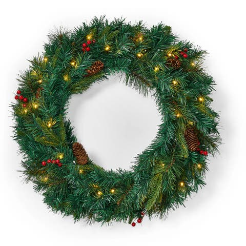 """Stella 24"""" Mixed Pine Pre-Lit White LED Artificial Christmas Wreath with Battery Box by Christopher Knight Home"""