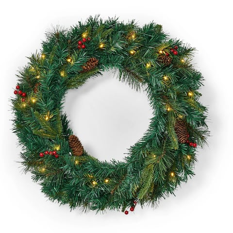 "Stella 24"" Pine Pre-Lit Wreath with Battery Box by Christopher Knight Home - Green"