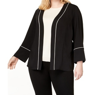 Alfani Women's Jacket Black Size 3X Plus Contrast-Trim Pleated Open