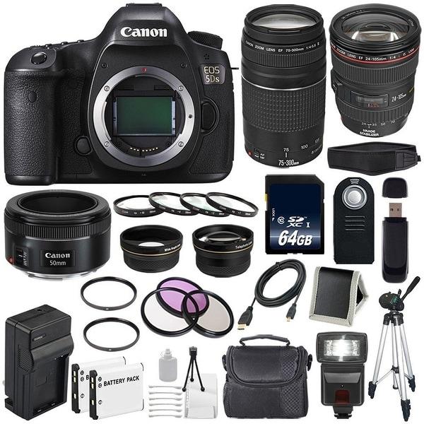 Canon EOS 5DS DSLR Camera (International Model) 0581C002 + EF 24-105mm f/4L IS USM Lens + EF 75-300 III Bundle