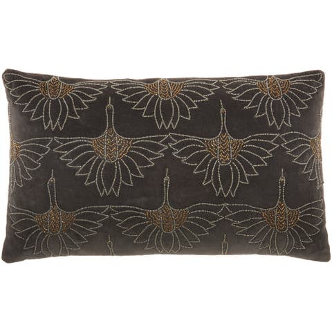 "Mina Victory Sofia Modern Art Deco Beaded Floral Lumbar Throw Pillow 12"" x 20"""
