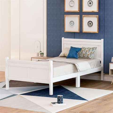 Harper & Bright Designs Wood Twin Sleigh Bed with Headboard and Footboard