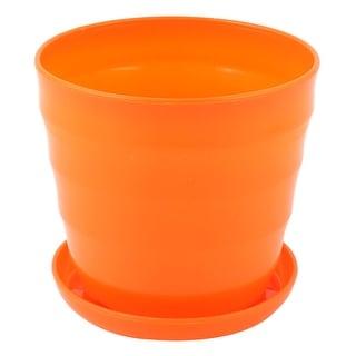 Plastic Stripe Pattern Home Garden Office Mini Plant Flower Pot Orange w Tray