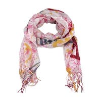 Pink / Red / Gray 70 Inch X 24 Inch American Flag Peace Print Neck Scarf