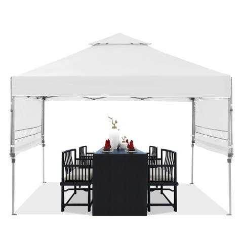 Ainfox 10 x 10FT 2-Tier Gazebo Canopy Tent Pop-Up Canopy with Adjustable Dual Half Awnings