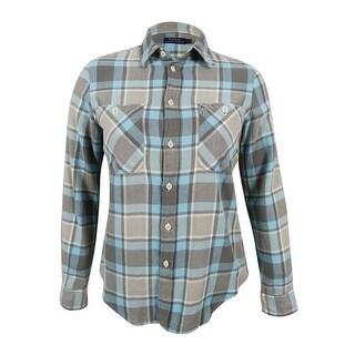 Polo Ralph Lauren Women's Plaid Twill Shirt (Aqua/Grey, L) - Aqua/Grey - l