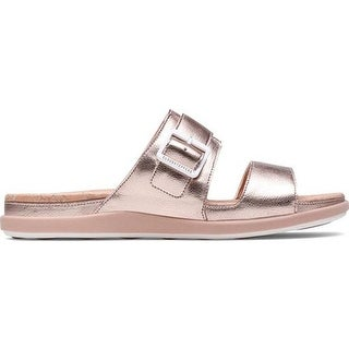 0c95b1273eb05 Clarks Women's Step June Tide Slide Rose Gold Synthetic   Overstock.com  Shopping - The Best Deals on Sandals