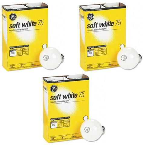 GE 41032-48 75-Watt A19, Soft White 4 Bulbs Per Pack (3 Pack) - Soft White