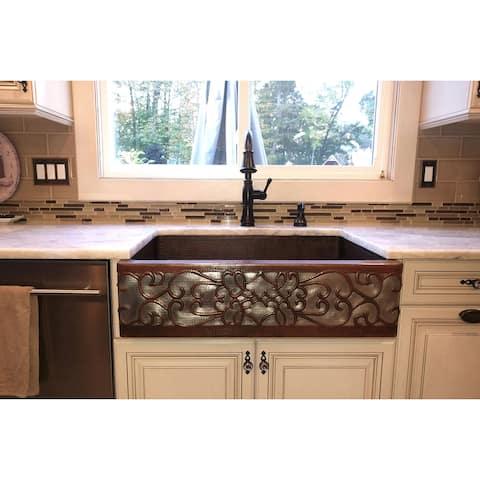 Premier Copper Products KASDB33229S-NB 33-inch Copper Apron Front Single Basin Kitchen Sink w/ Scroll Dsgn Nickel Bkgrnd