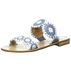 Jack Rogers Women's Lauren Raffia dress Sandal, Blue Raffia, 6.5 M US