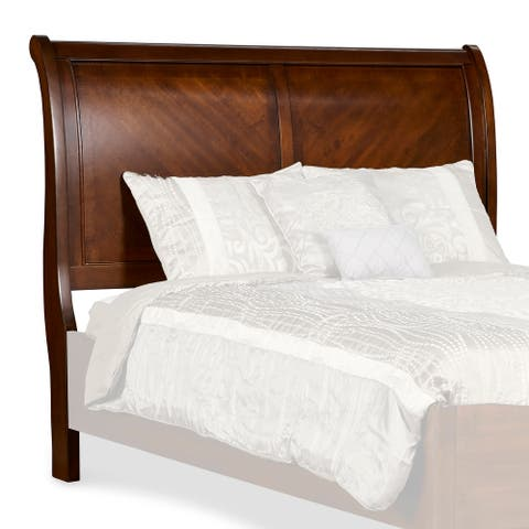 Eastern King Size Wooden Sleigh Headboard with Curved Back , Brown