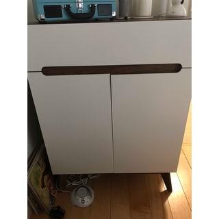 Carson Carrington Eskilstuna Mid-century White and Walnut 2-door Storage Cabinet
