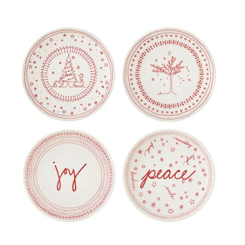 """ED Ellen DeGeneres Crafted by Holiday Accent Plate 6"""" Set/4"""