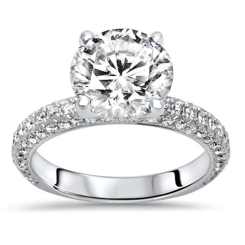 14k White Gold 2.50ct Round Moissanite and 3/4ct Pave Diamond Engagement Ring