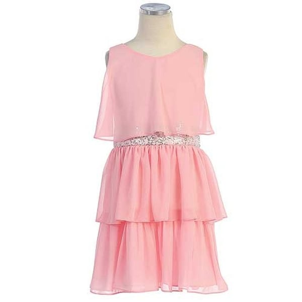 7098c522cebe Shop Sweet Kids Pink Tiered Chiffon Easter Flower Girl Dress Girls 4-16 -  Free Shipping On Orders Over $45 - Overstock - 18175886