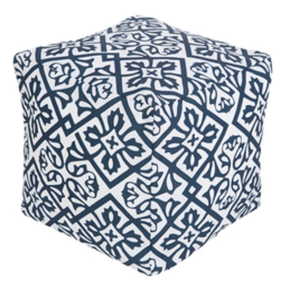 Superb 18 Cobalt Blue And Ivory Floral Star Square Outdoor Patio Pouf Ottoman N A Machost Co Dining Chair Design Ideas Machostcouk