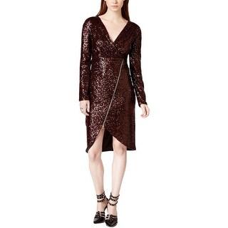 Rachel Roy Womens Party Dress Sequin Asymmetrical-Zip