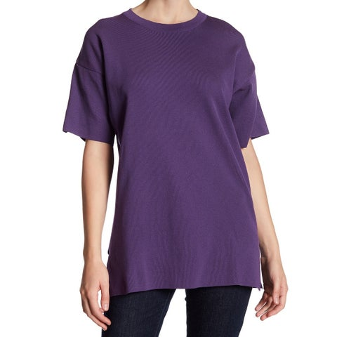 TopShop Deep Purple Womens Size 4 Crewneck Side-Slit Tunic Top