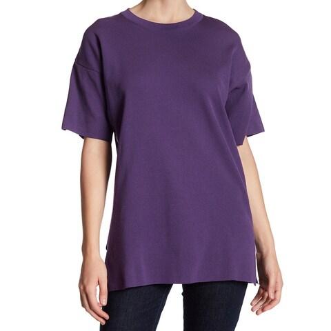 TopShop NEW Deep Purple Womens Size 8 Crewneck Side-Slit Tunic Top