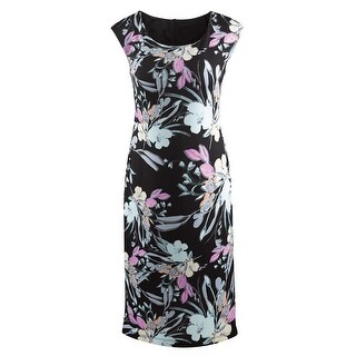Connected Apparel Floral Print Sheath Dress - Sleeveless Midi-Length - Black