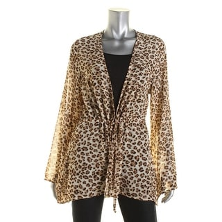 Guess Womens Tie Front Bell Sleeve Cardigan Top - L