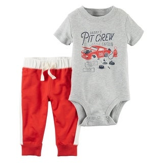 Carter's Baby Boys' 2-Piece Bodysuit Pant Set, 3 Months - Gray/Red