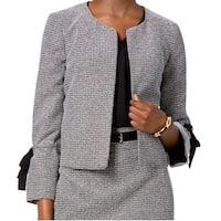 Nine West Black Gray Women's Size 2 Bell Sleeve Flap Tie Jacket