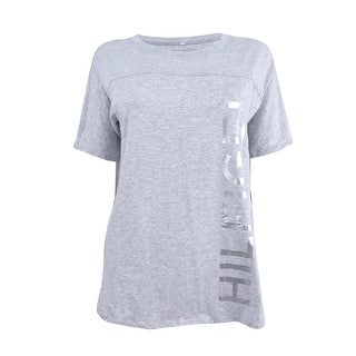 Tommy Hilfiger Women's Sport Graphic Football T-Shirt - Dove Heather