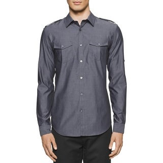 Calvin Klein Mens Button-Down Shirt Slim Fit Adjustable Sleeves