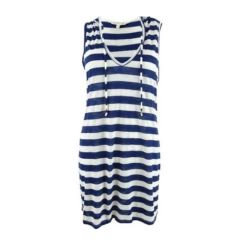 Miken Women's Plus Size Sleeveless Hooded Dress Swim Cover-Up - Navy/Marshmellow