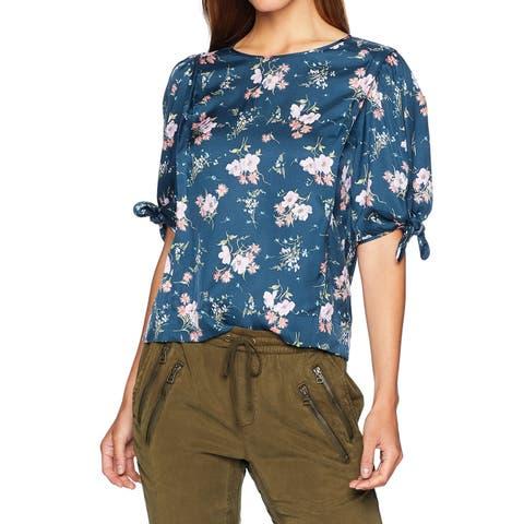 Rebecca Taylor Women's Blue Multi Size 6 Floral Tie-Sleeve Knit Top