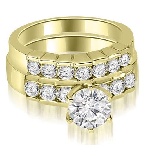 1.55 cttw. 14K Yellow Gold Round Cut Diamond Engagement Set