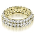 2.50 cttw. 14K Yellow Gold Elegant Three Row Round Diamond Eternity Band Ring - Thumbnail 0