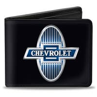 1929 Chevrolet Bowtie Logo Black Silver Blue Bi Fold Wallet - One Size Fits most