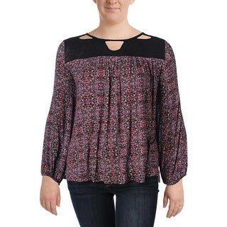 Jessica Simpson Womens Plus Fifi Casual Top Printed Cut-Out - 2x