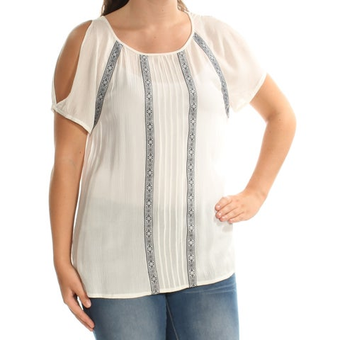 VINCE CAMUTO Womens Ivory Cold Shoulder Sheer Short Sleeve Jewel Neck Top Size: S