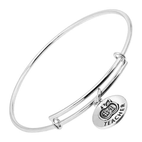 #1 Teacher Expandable Bangle Bracelet in Sterling Silver - White