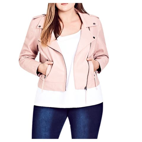 City Chic Women's Jacket Pink Size 16 Plus Motorcycle Stitch-Trim
