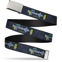 "Blank Chrome 1.0"" Buckle Despicable Me Minion Testing Test #56 Blues Web Belt 1.0"" Wide - S"