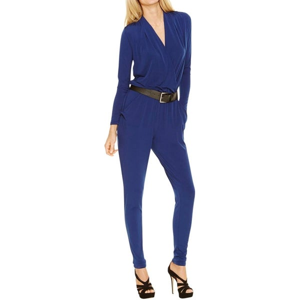 MICHAEL Michael Kors Womens Jumpsuit Surplice Long Sleeves