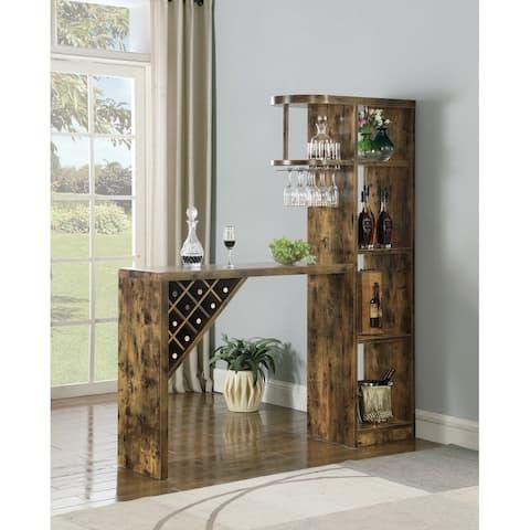Coaster 5-Shelf Bar Table Storage Antique Nutmeg