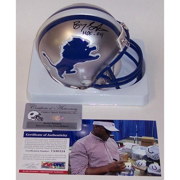 buy popular 33d29 c775f Barry Sanders Autographed Hand Signed Lions Throwback Mini Helmet - PSA/DNA
