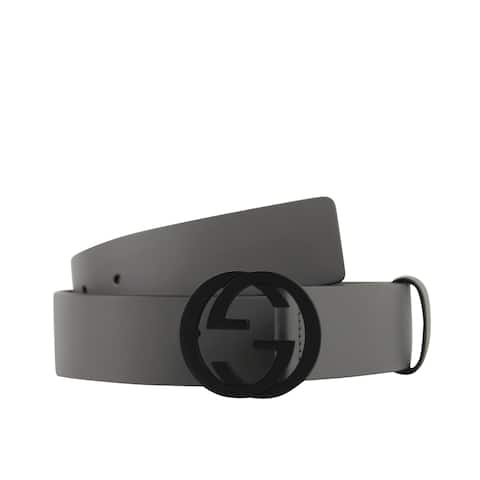e9900a18160 Gucci Men s Interlocking G Grey Leather Belt with Black Buckle 368186 1226