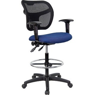 Offex Mid-Back Mesh Drafting Stool with Navy Blue Fabric Seat and Arms [OF-WL-A7671SYG-NVY-AD-GG]