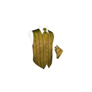 New Gold Striped Satin Tuxedo Vest with Long Tie and Pocket Square Set