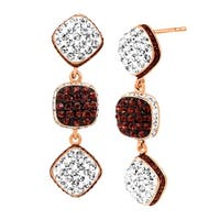 Crystaluxe Square Link Drop Earrings with Swarovski elements Crystals in 18K Rose Gold-Plated Sterling Silver