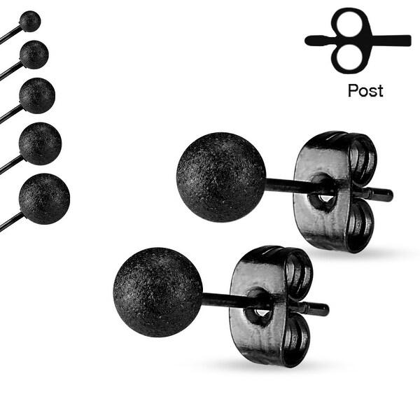 Pair of Sparkling Sand Blast Finish Ball Stainless Steel Stud Earrings - 3mm