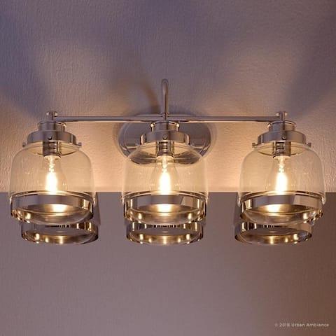 "Luxury Polished Nickel Industrial Chic Bathroom Vanity Light - 11-1/4""H x 26""W x 8-1/2""Dep"